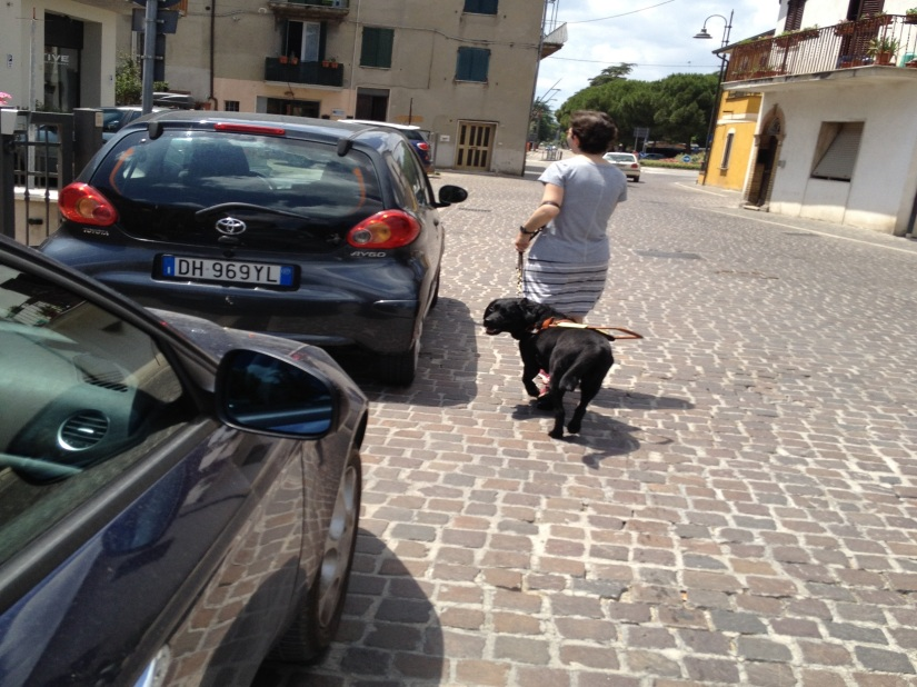 Mopsy and Jameyanne, seen from the back, walk around cars on the sidewalk on a cobblestone street in Santa Maria degli Angeli, Italy